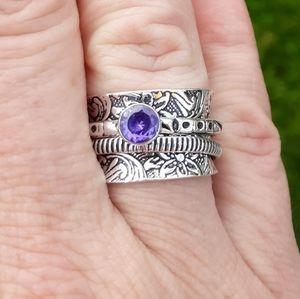 New Amethyst 925 Silver Spinner Meditation Ring.